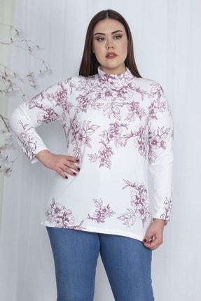 Şans Kadın Kemik Dik Yakalı Desenli Bluz 65N23710 1