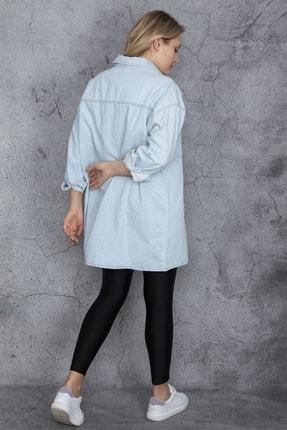 Şans Kadın Mavi Salaş Kesim Çıtçıt Düğmeli Oversize Kot Tunik 65N23837 1