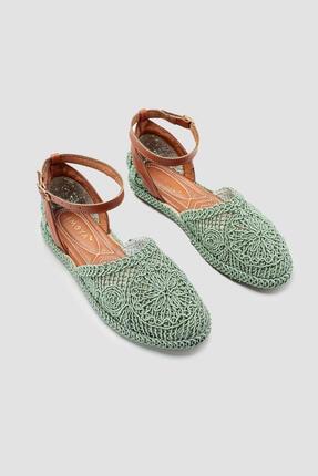 Limoya Kadın Yeşil Örgü Detaylı Triko Bilekten Baretli Sandalet 1