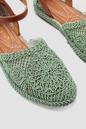 Limoya Kadın Yeşil Örgü Detaylı Triko Bilekten Baretli Sandalet 3