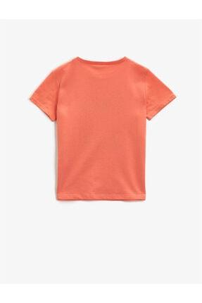 Koton Erkek Çocuk Turuncu Yazılı  Kısa Kollu Bisiklet Yaka Pamuklu T-Shirt 1