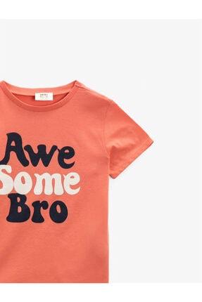 Koton Erkek Çocuk Turuncu Yazılı  Kısa Kollu Bisiklet Yaka Pamuklu T-Shirt 2