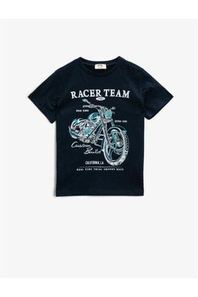 Koton Yazili T-Shirt Kisa Kollu Pamuklu Bisiklet Yaka 0