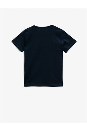Koton Yazili T-Shirt Kisa Kollu Pamuklu Bisiklet Yaka 1