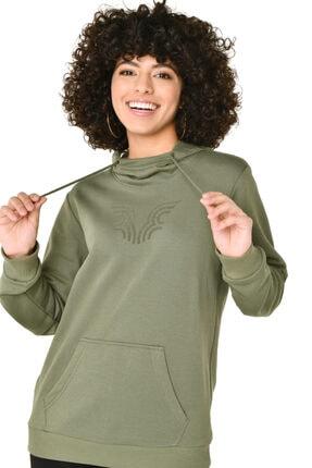 bilcee Kadın Yeşil Kapüşonlu Sweatshirt 2