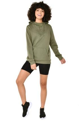 bilcee Kadın Yeşil Kapüşonlu Sweatshirt 4