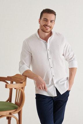 Avva Erkek Beyaz Düz Düğmeli Yaka Regular Fit Gömlek A11y2026 2