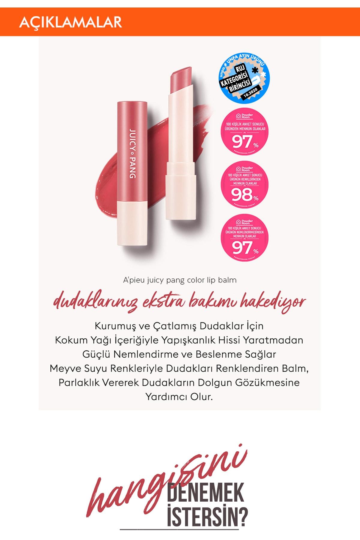Missha Uzun Süre Kalıcı Canlı Renkli Nemlendirici Dudak Balmı APIEU Juicy-Pang Color Lip Balm (RD02) 2