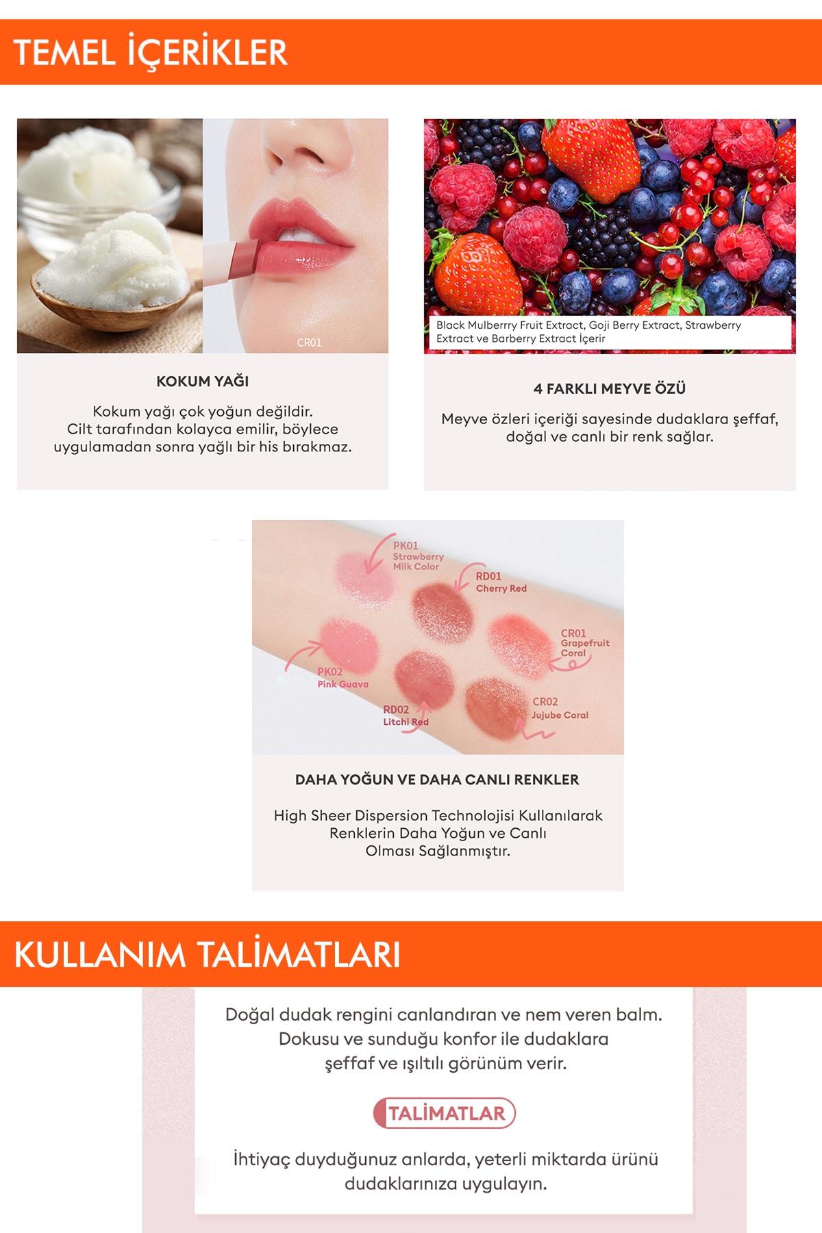 Missha Uzun Süre Kalıcı Canlı Renkli Nemlendirici Dudak Balmı APIEU Juicy-Pang Color Lip Balm (RD02) 4