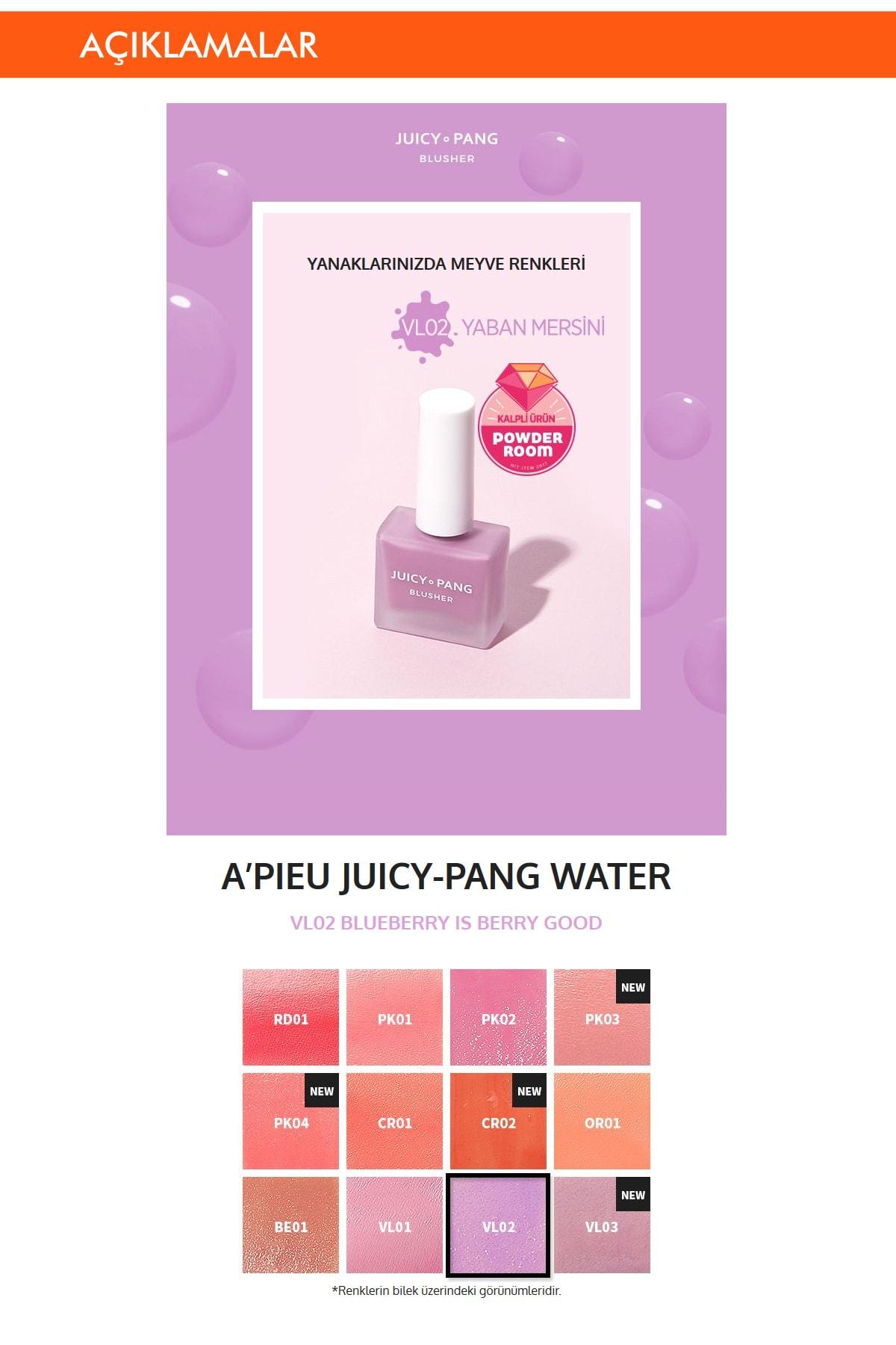 Missha Doğal Görünüm Sunan Nemlendirici Likit Allık 9g. APIEU Juicy-Pang Water Blusher (VL02) 1