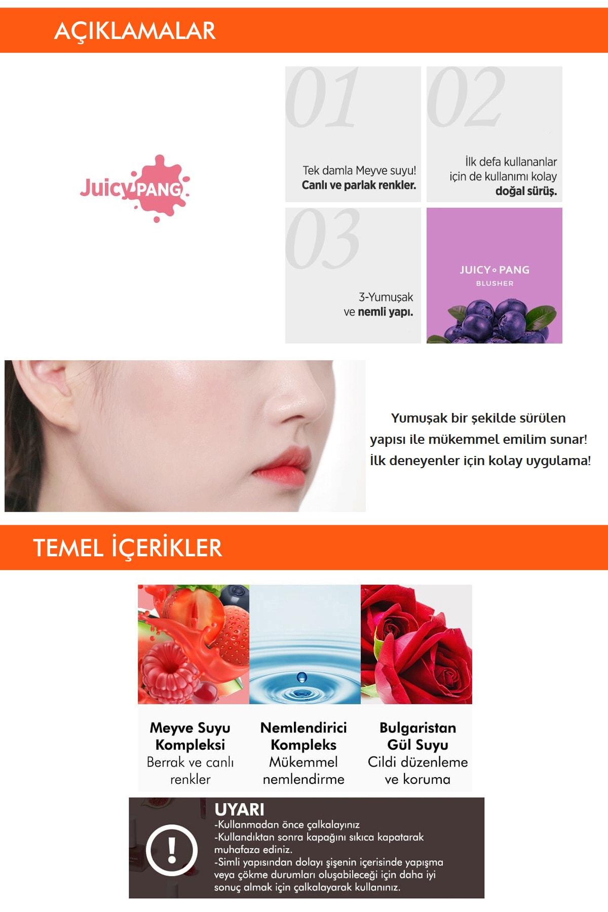 Missha Doğal Görünüm Sunan Nemlendirici Likit Allık 9g. APIEU Juicy-Pang Water Blusher (VL02) 3