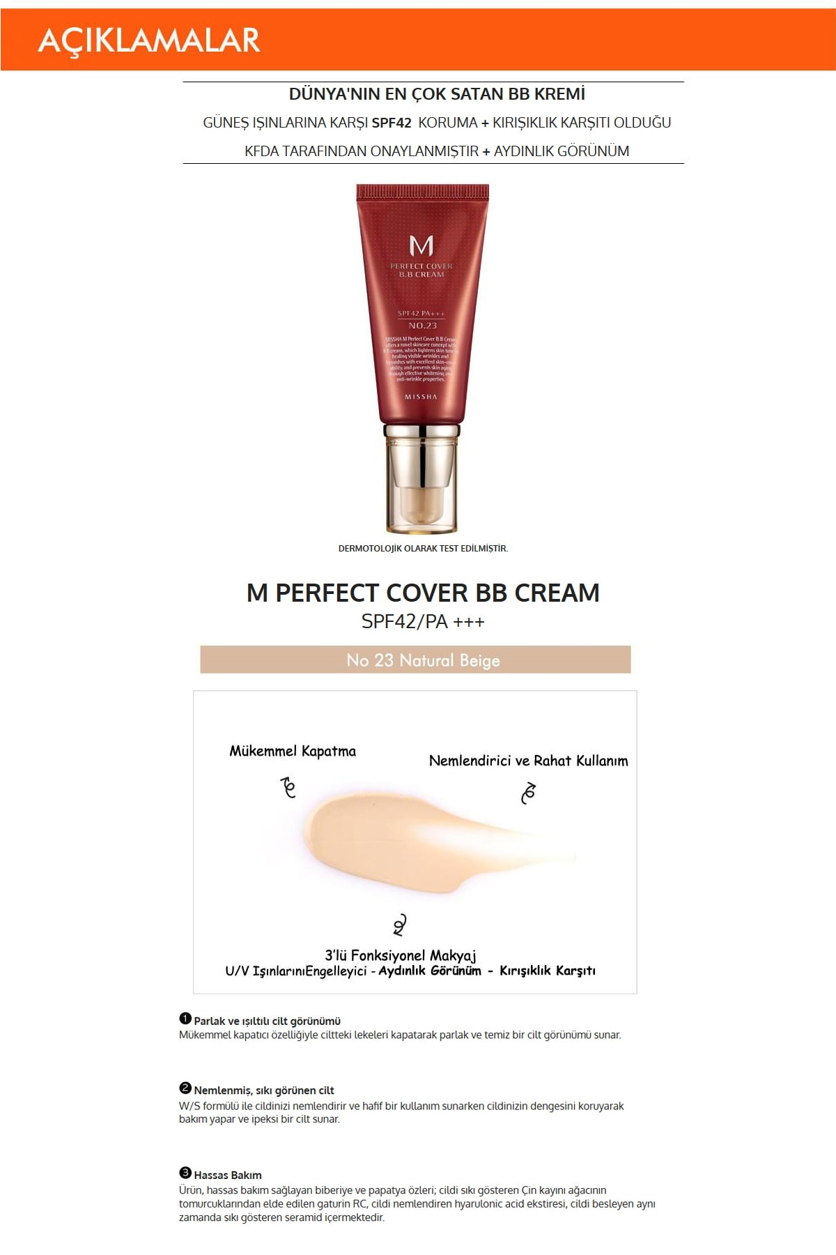 Missha Yoğun Kapatıcılık Sunan Nemlendirici BB Krem 50ml M Perfect Cover BB Cream SPF42/PA+++ No: 23 1
