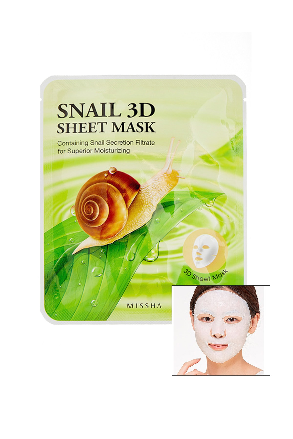 Missha Salyangoz Özlü Onarıcı Yaprak Maske (23g) Snail Healing 3D Sheet Mask 0