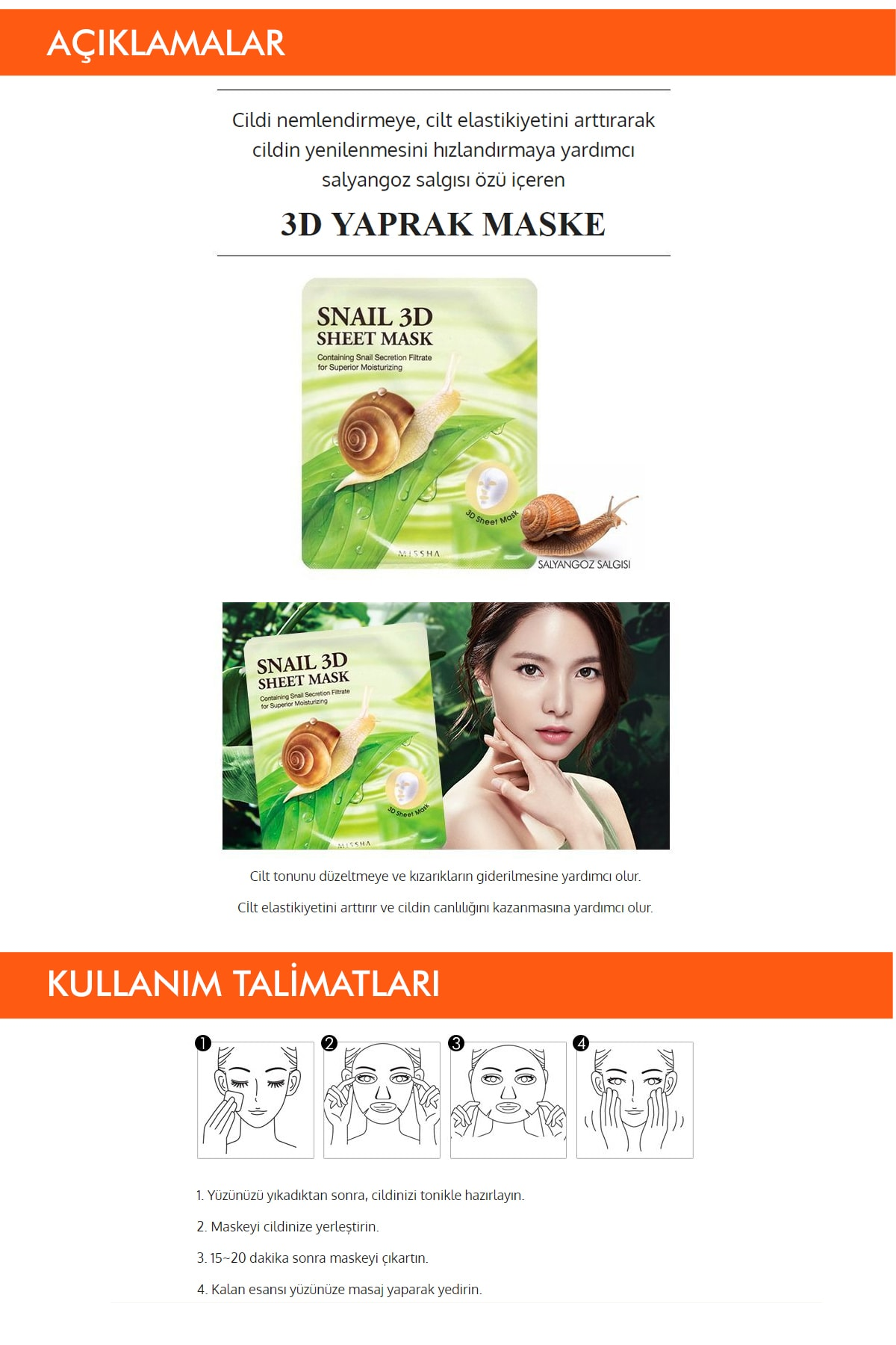 Missha Salyangoz Özlü Onarıcı Yaprak Maske (23g) Snail Healing 3D Sheet Mask 1