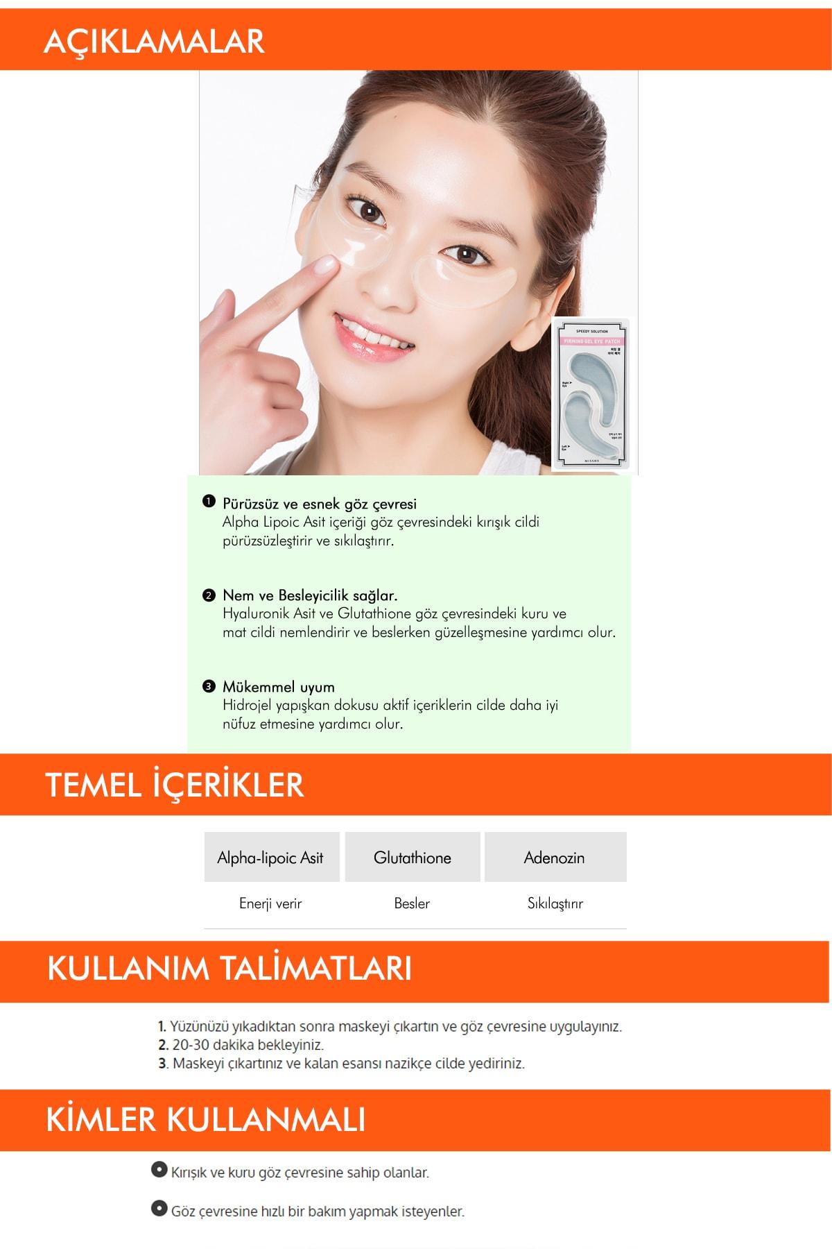Missha Sıkılaştırıcı Adenozin İçerikli Göz Maskesi Speedy Solution Firming Gel Eye Patch 3