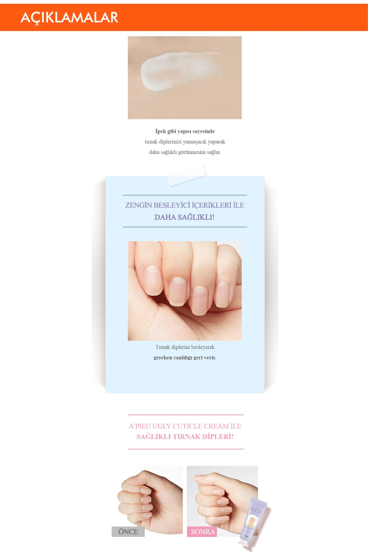 Missha Yıpranmış Ve Kurumuş Tırnak Dipleri İçin Bakım Kremi 10ml APIEU Ugly Cuticle Cream 2