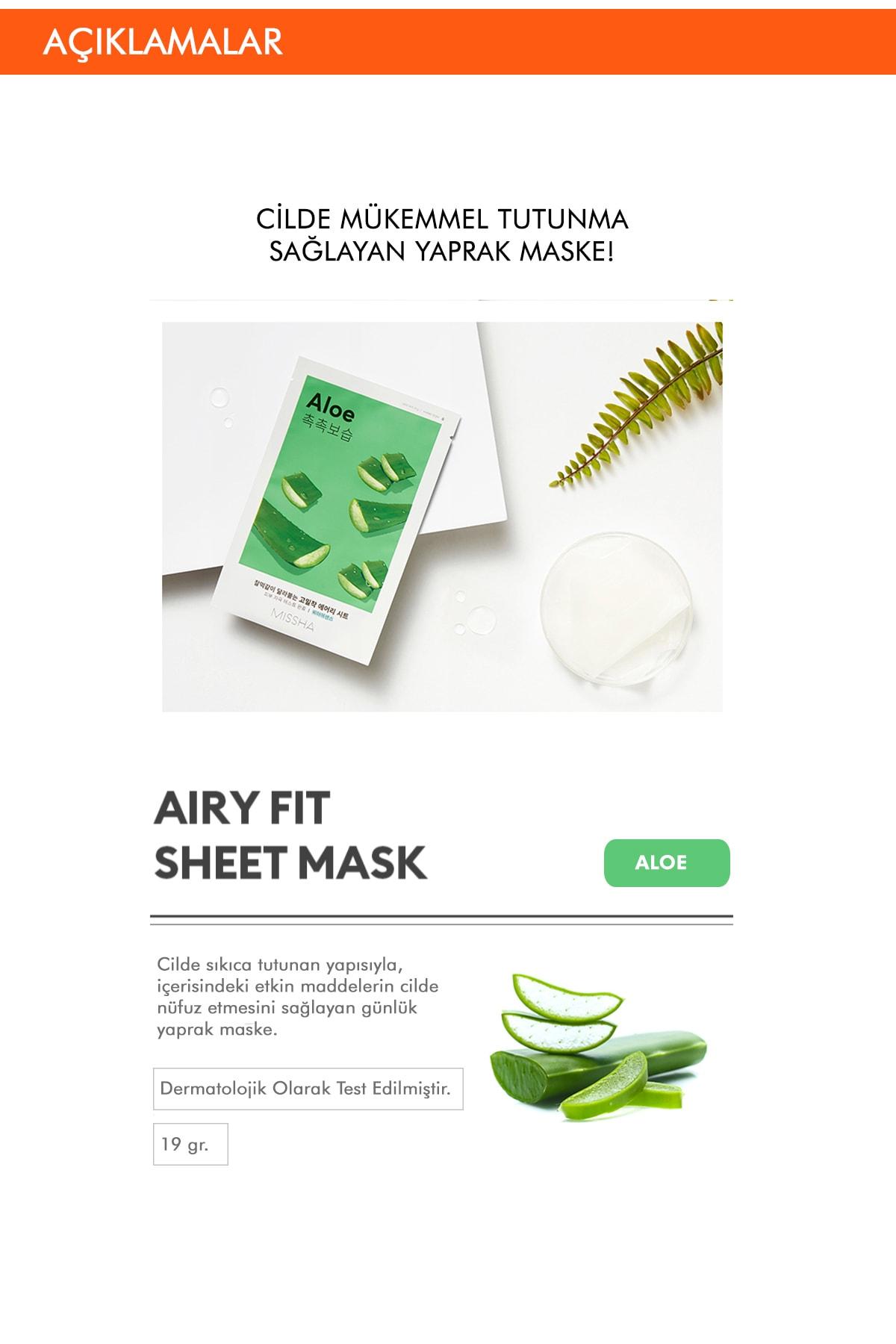 Missha Aloe Veralı Yatıştırıcı ve nemlendirici Yaprak Maske (1ad) Airy Fit Sheet Mask 1