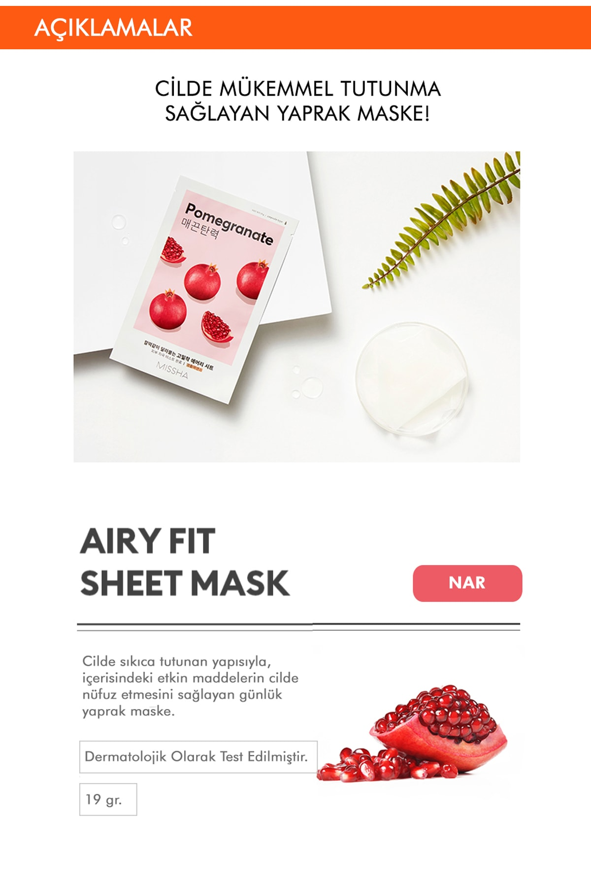 Missha Yaşlanma Karşıtı Nar Özlü Sıkılaştırıcı Yaprak Maske (1ad) Airy Fit Sheet Mask Pomegranate 1