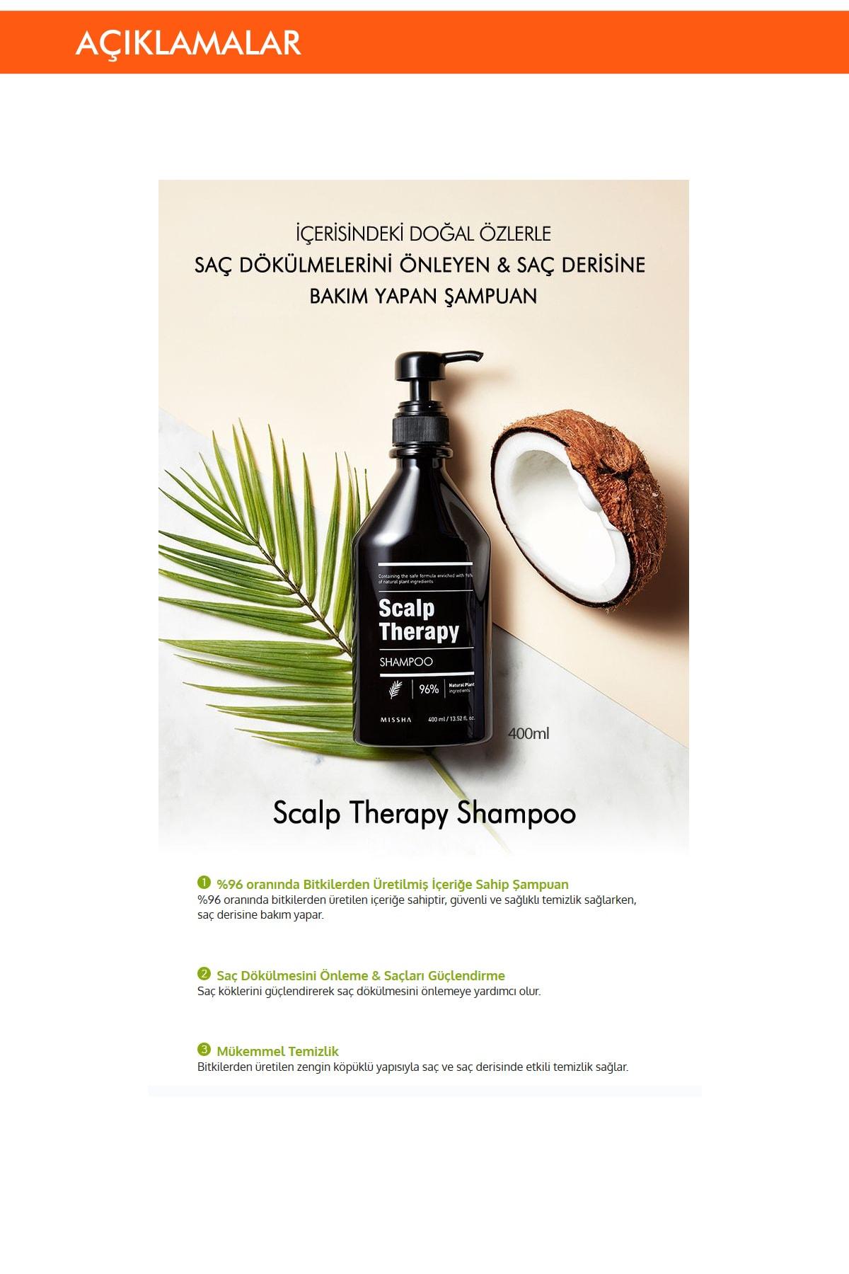 Missha Dökülme Karşıtı Saç Derisi Bakımı Yapan Bitkisel Şampuan (400ml) Scalp Therapy Shampoo 1