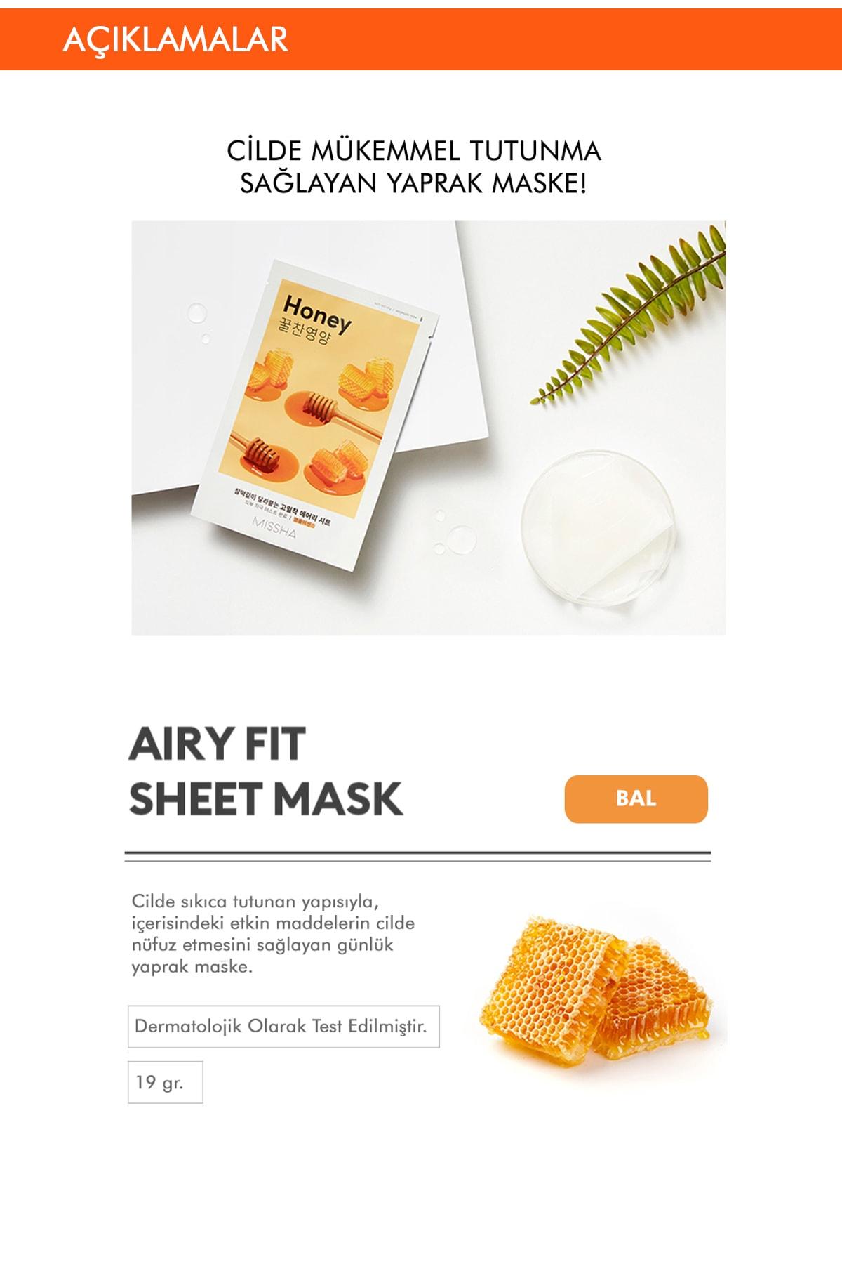 Missha Bal İçerikli Yoğun Nemlendirici Yaprak Maske (1ad) Airy Fit Sheet Mask Honey 1