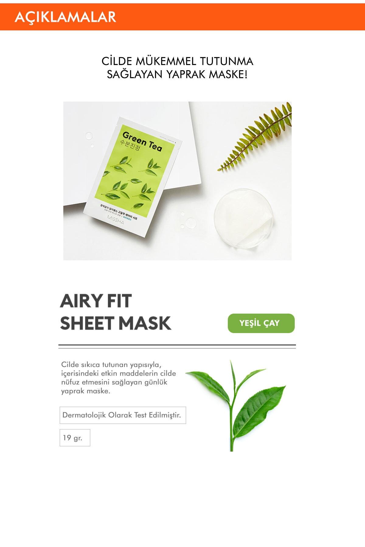 Missha Yeşil Çaylı Yatıştırıcı ve Nemlendirici Yaprak Maske (1ad) Airy Fit Sheet Mask Green Tea 1