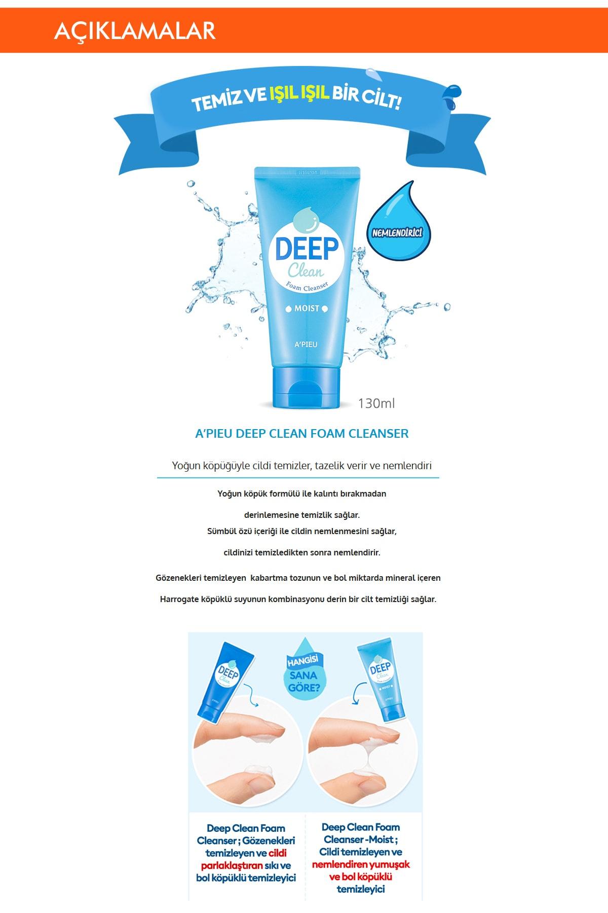 Missha Nemlendirici Etkili Yüz Yıkama Köpüğü 130ml APIEU Deep Clean Foam Cleanser (Moist) 1