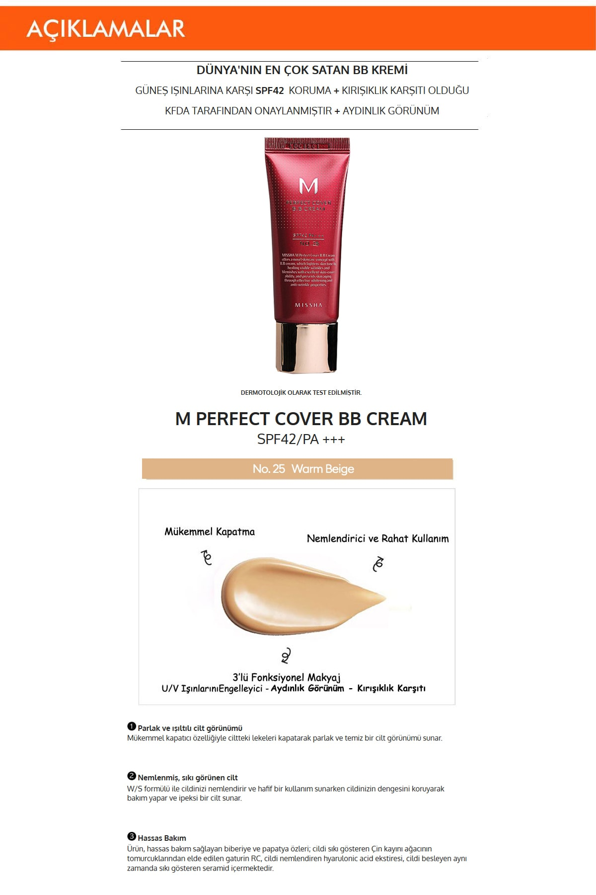 Missha Yoğun Kapatıcılık Sunan BB Krem M Perfect Cover BB Cream SPF42/PA+++ No: 25 ( 20 ML ) 1