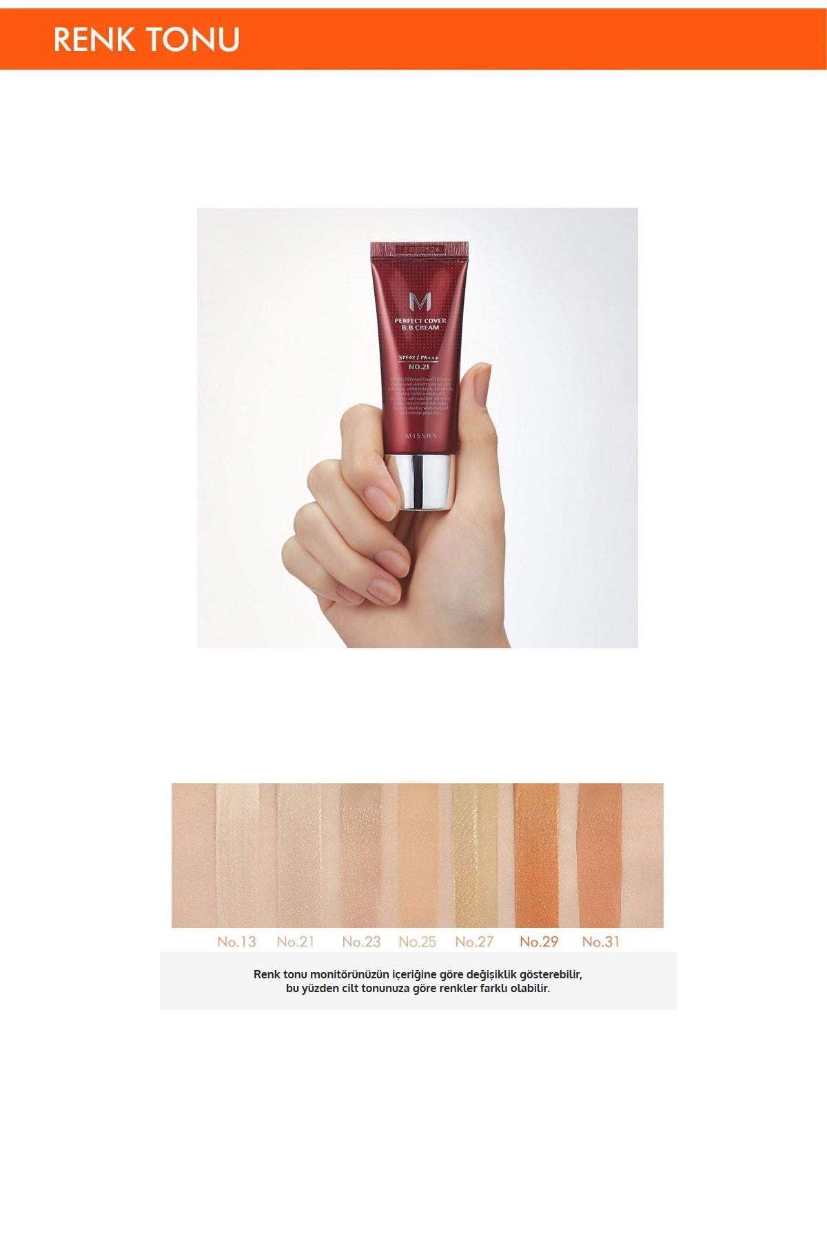 Missha Yoğun Kapatıcılık Sunan BB Krem M Perfect Cover BB Cream SPF42/PA+++ No: 25 ( 20 ML ) 2