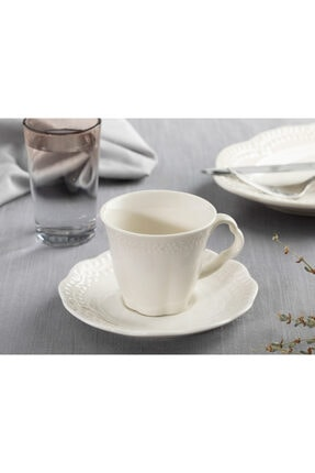 English Home Viyana Porselen 2'li Kahve Fincan Takımı 80 Ml Açık Krem 1