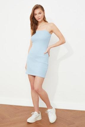 TRENDYOLMİLLA Mavi Askılı Bodycon Mini Örme Elbise TWOSS21EL2327 0