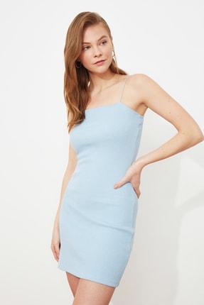 TRENDYOLMİLLA Mavi Askılı Bodycon Mini Örme Elbise TWOSS21EL2327 1
