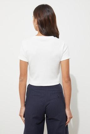 TRENDYOLMİLLA Beyaz Fitilli Örme Bluz TWOAW21BZ0638 4