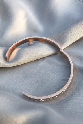 Novon Giyim & Aksesuar Roma Rakamlı Zirkon Taşlı Rose Altın Rengi 316l Çelik Bileklik 1