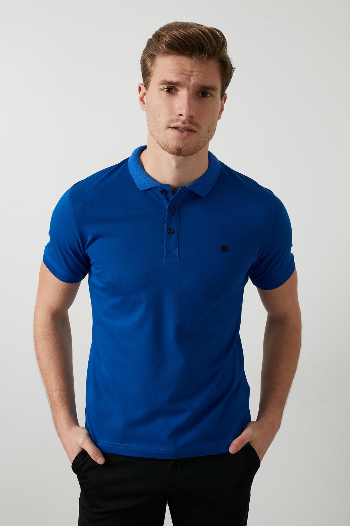 Buratti Erkek Parlıament Mavisi Düğmeli Polo Yaka Standart Fit Pamuklu T Shirt 0438101 1