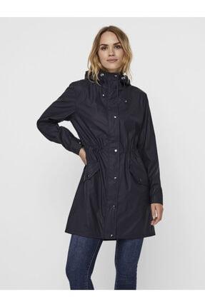 Vero Moda Kadın Siyah Kapüşonlu Büzgülü Yağmurluk 4