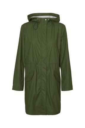 Vero Moda Kadın Yeşil Kapüşonlu Büzgülü Yağmurluk 0