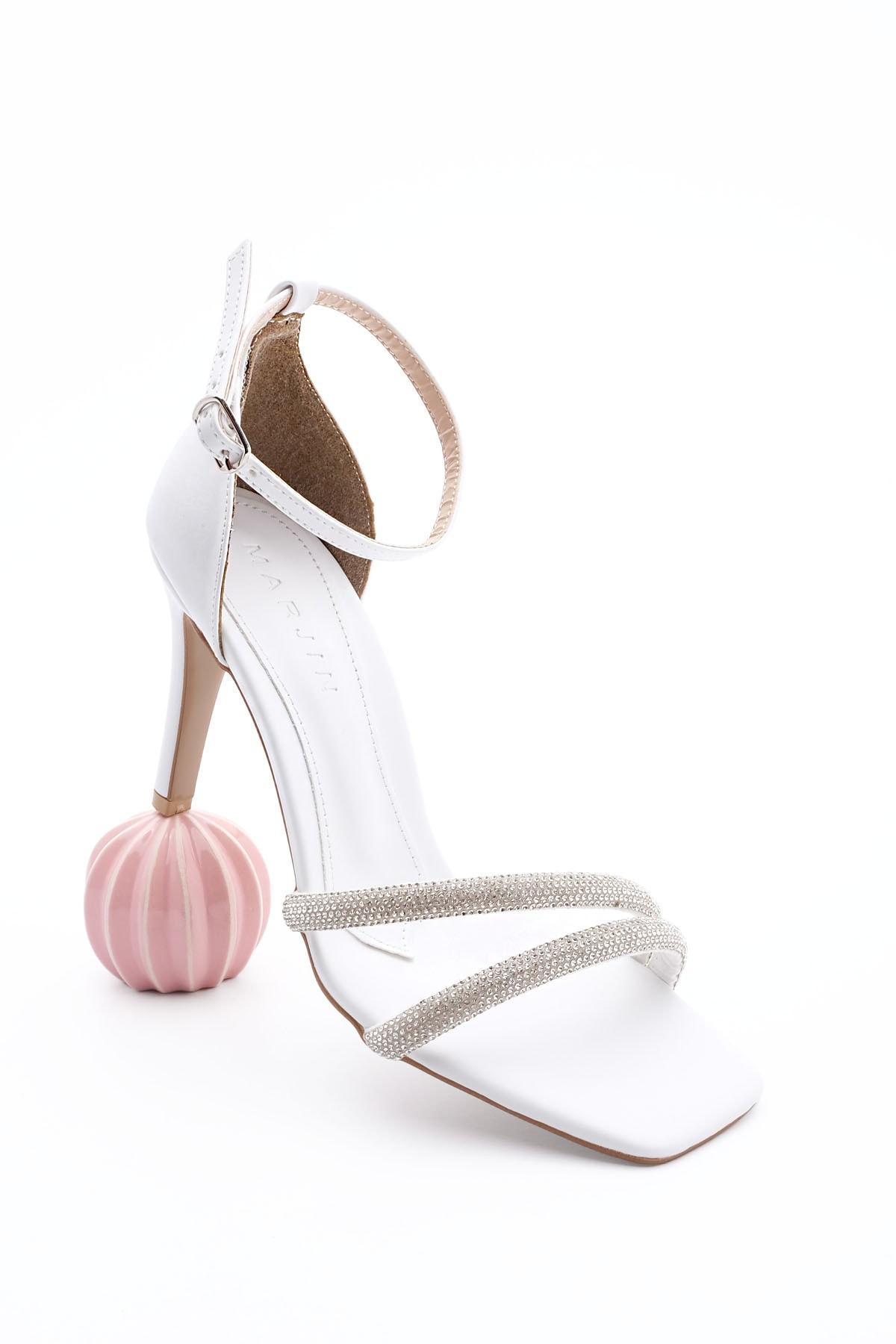Kadın Beyaz Abiye Topuklu Ayakkabı