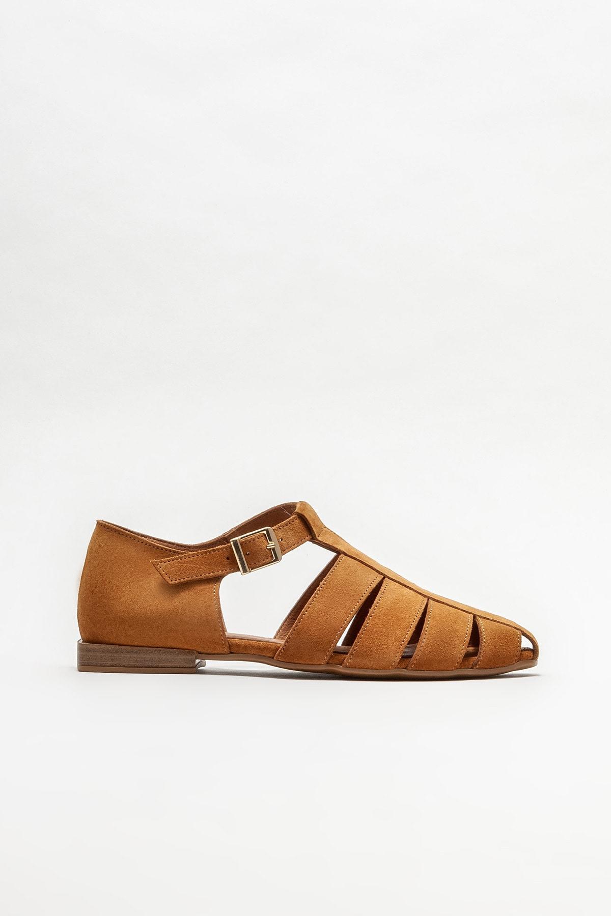 Kadın Taba Deri Düz Ayakkabı