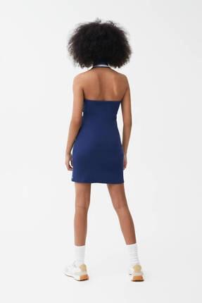 Pull & Bear Kadın Lacivert Fitilli Yaka Polo Elbise 2