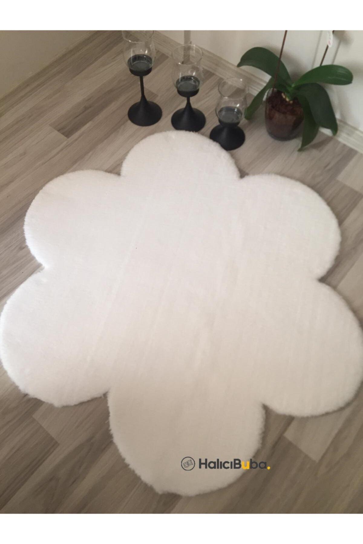 Post Peluş Papatya Çiçek Figürü Dekoratif Beyaz Kaymaz Taban Halı