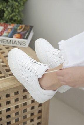 Straswans Kadın Deri Spor Ayakkabı Beyaz 1