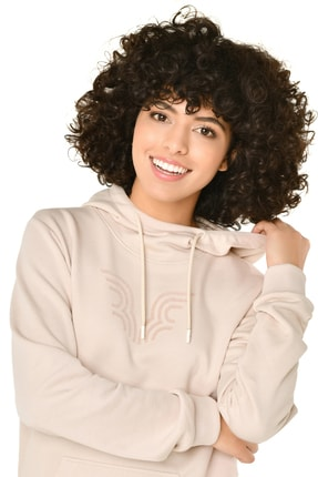 bilcee Krem Kadın Kapüşonlu Sweatshirt Iw-9041 0