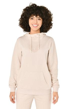 bilcee Krem Kadın Kapüşonlu Sweatshirt Iw-9041 4
