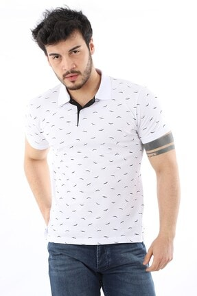 Arlin Erkek Polo Yaka Düğmeli Kuş Baskılı Slim Fit Beyaz T-shirt 0