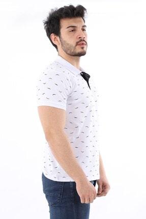 Arlin Erkek Polo Yaka Düğmeli Kuş Baskılı Slim Fit Beyaz T-shirt 1
