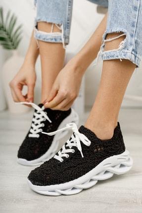meyra'nın ayakkabıları Kadın  Siyah Dantelli Spor Ayakkabı 0