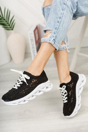 meyra'nın ayakkabıları Kadın  Siyah Dantelli Spor Ayakkabı 2