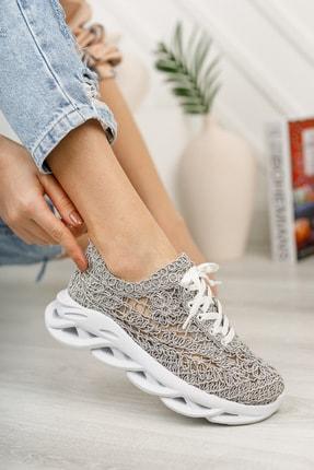 meyra'nın ayakkabıları Kadın  Gri Dantelli Spor Ayakkabı 1
