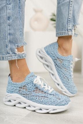 meyra'nın ayakkabıları Kadın  Mavi Dantelli Spor Ayakkabı 2