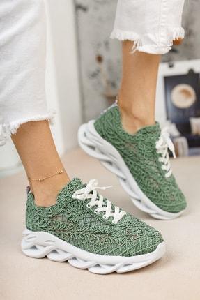 meyra'nın ayakkabıları Kadın  Yeşil Dantelli Spor Ayakkabı 2